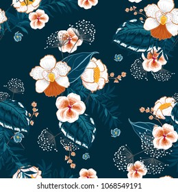 Blooming  Floral pattern in the many kind of flowers. Tropical botanical  . Seamless vector texture.fashion prints. Printing with in hand drawn style on navy blue.