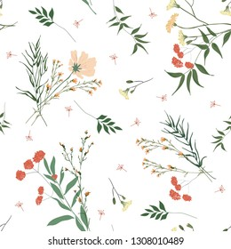Blooming floral seamless pattern. Blossom botanical motifs scattered random. Trendy colorful vector texture. Fashion, fabric, ditsy print. Hand drawn different wild meadow flowers on white background