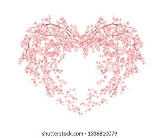 blooming flower heart made of sakura tree blossom - spring season love symbol vector design