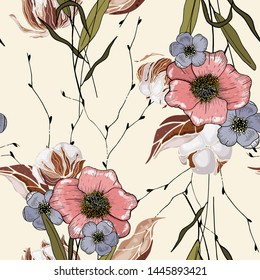 Blooming flowers chamomile and cotton. Realistic isolated seamless floral pattern. Vintage background. Hand drawn vector illustration.