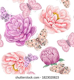 Blooming flowers, peonies, butterflies floral vector seamless pattern white background. Artistic backdrop. Decorative gentle romantic peony flower illustration wallpaper