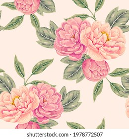 Blooming flowers, peonies, leaves, floral vector seamless pattern, spring summer background. Decorative vintage beautiful romantic flower chinoiserie illustration wallpaper