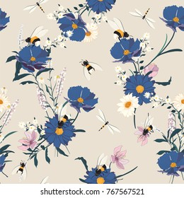 Blooming flowers seamless pattern. Blue on grey background. Elegant flowers floral foliage garland bouquetand bees . Vector design illustration.