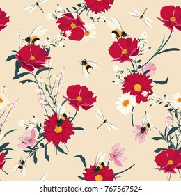 Blooming flowers seamless pattern.Red  flowers on pink  background. Elegant flowers floral foliage garland bouquetand bees . Vector design illustration.