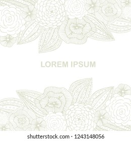 Blooming gray background for coloring book, antistress page, Lorem ipsum, hand drawn design element stock vector illustration for web, for print