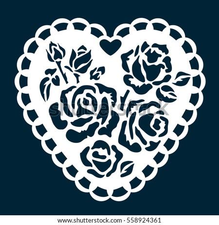Blooming Heart Wedding Gift Cutout Tag Stock Vector Royalty Free