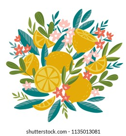 Blooming lemon tree in hand drawn style. Vector design element isolated on the white background. Tropical summer fruit decor.