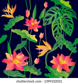 Blooming lotus flowers. Floral pattern with Indian motifs. Oriental textile collection. Template for textile design, cards, covers. On black background.