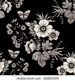 Blooming meadow flowers and butterflies seamless pattern on black background vector illustration