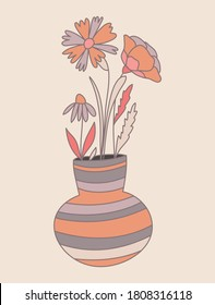 Blooming nude poppy and wildflowers in a vase, detailed hand drawn vector illustration with pattern. Romantic decorative floral pattern. All line art objects of cornflowers, buttercups, daisies and