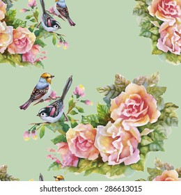 Blooming Pink Rose flowers with birds, watercolor seamless pattern on green background vector illustration