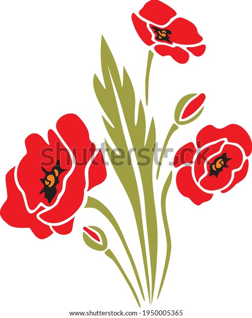 blooming-poppies-flat-design-vector-600w