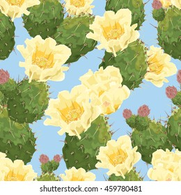 Blooming prickly pear cactus. Opuntia. Yellow flowers. Vector background, seamless pattern on blue background.
