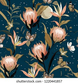 Blooming  Protea flowers and botanical garden night with moon shine and stars ,butterflies seamless pattern vector design for fashion ,fabric,wallpaper and all prints on dark blue background