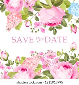 Blooming rose branch on the top of invitation card isolated over white background and text place. Congratulation text card with Save the date sign. Vector illustration.