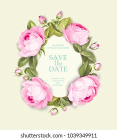 Blooming roses at the border of invitation card isolated over blue tile background and text place in center. Congratulation text card with Save the date sign. Vector illustration.