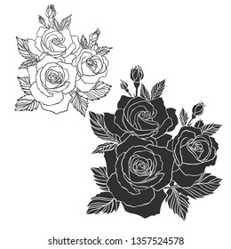 Blooming roses.Isolated black and white design with tender roses. The design is perfect for stickers, tattoos, clothes design, etc.