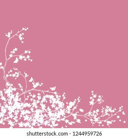 blooming sakura branches and butterflies corner decor - cherry tree blossom vector silhouette