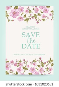 Blooming sakura tree branch at the bottom of vertical invitation card isolated over white background and text place in center. Congratulation text card with Save the date sign.