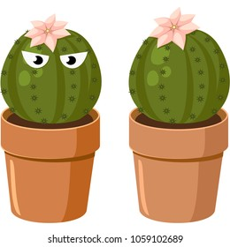 Blooming spiny green cactus with eyes. Vector