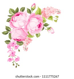 Blooming spring flowers garland of purple roses, sakura and lilac. Label with rose and sacura flowers.