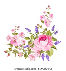 Blooming spring flowers garland of purple roses, sakura and lavender. Label with rose and lavender flowers. Vector illustration.