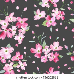 Blooming Spring Flowers Pattern Background. Seamless Fashion Print in vector