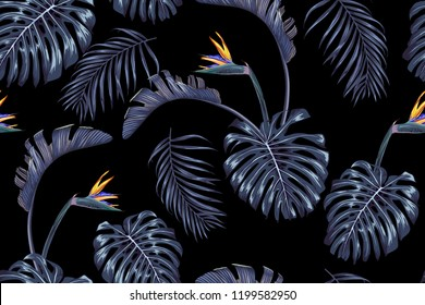 Blooming strelitzia and tropical leaves on a dark background. Vector seamless pattern.