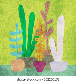 Blooming succulents and cactus vector illustration