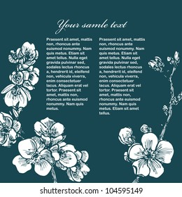 Blooming tree card with sample text in vector