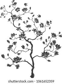 Blooming tree. Chinese cherry. tree silhouette