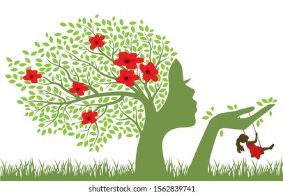 Blooming tree with female face holding swing for little girl, vector
