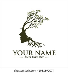 blooming tree with female face, vector, Vector person ecological, think green,tree brain logo concept. human mind, growth , innovation, thinking, symbol stock illustration.