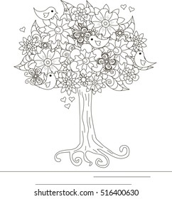 Blooming tree with loving birds and butterfly for coloring book, anti stress vector illustration