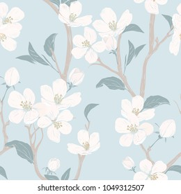 Blooming tree. Seamless pattern with flowers. Spring floral texture. Hand drawn botanical vector illustration. White Cherry blossom branches