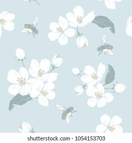 Blooming tree. Seamless pattern with flowers. Spring floral texture. Hand drawn botanical vector illustration. White Cherry blossom and bees
