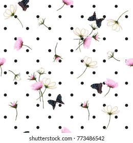 Blooming wild flowers seamless pattern with polka dots on white background in hand drawing style.