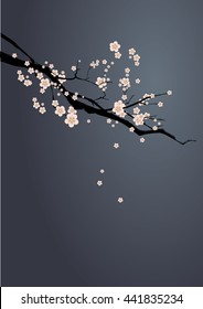Blossom branch at night. Vector illustration. Japanese art. Apple or cherry branch with pink flowers at moon night.