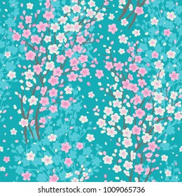 Blossom cherry seamless pattern. Beautiful spring floral background.  Vector illustration.