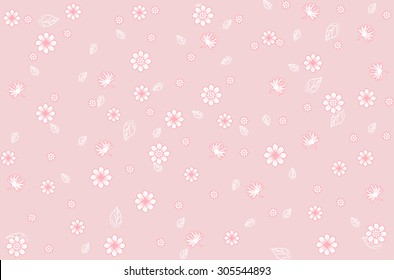 blossom cluster  pattern background,Vector floral  in doodle style and leaves.