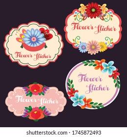 blossom cute flower sticker vector illustration