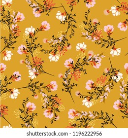 Blossom  Floral pattern in the blooming botanical  Motifs scattered random. Seamless vector texture. For fashion prints. Printing with in hand drawn style on retro yellow  background