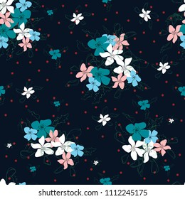 Blossom floral seamless pattern. Blooming botanical motifs scattered random. Colorful vector texture. Good for fashion prints. Hand drawn small flowers on dark blue background with polka dots