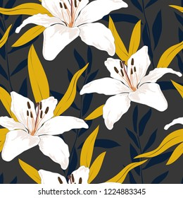 Blossom floral seamless pattern. Lily flowers with branches and leaves scattered random. Trendy abstract vector texture. Good for fashion prints, fabric, design. Hand drawn flowers on grey background