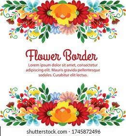 blossom flower card border cute floral vector illustration