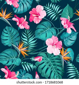Blossom flowers for seamless pattern background. Tropical flower fashion pattern. Tropic flowers for nature background. Vector illustration.