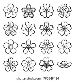 Blossom icons. Sakura icons. Collection of 16 linear Japanese cherry blossom symbols isolated on a white background. Editable stroke. Vector illustration