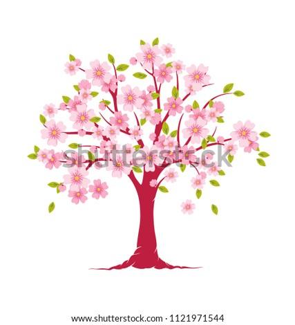 Blossom Tree Flower Tree Print Tree Stock Vector Royalty Free