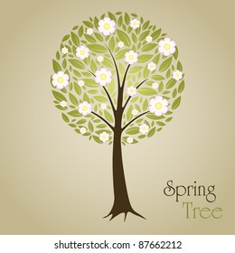 Blossom Tree vector illustration with green leafs and flowers. Nature symbol graphic design