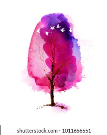 Blossoming Spring watercolor pink tree and flock of white flying birds.